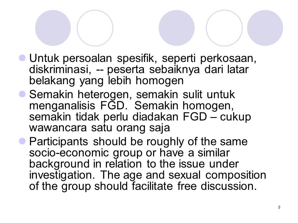 9 Untuk persoalan spesifik, seperti perkosaan, diskriminasi, -- peserta sebaiknya dari latar belakang yang lebih homogen Semakin heterogen, semakin su