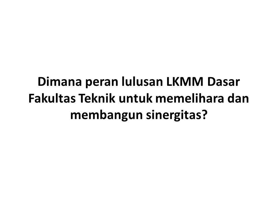 Dimana peran lulusan LKMM Dasar Fakultas Teknik untuk memelihara dan membangun sinergitas?