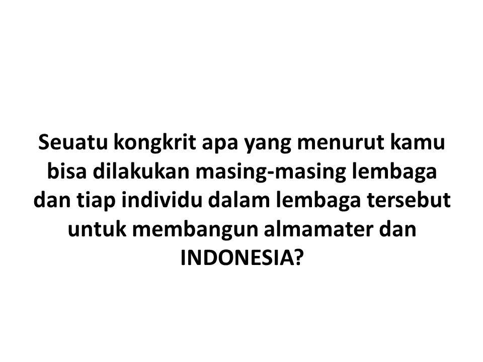 Seuatu kongkrit apa yang menurut kamu bisa dilakukan masing-masing lembaga dan tiap individu dalam lembaga tersebut untuk membangun almamater dan INDONESIA?