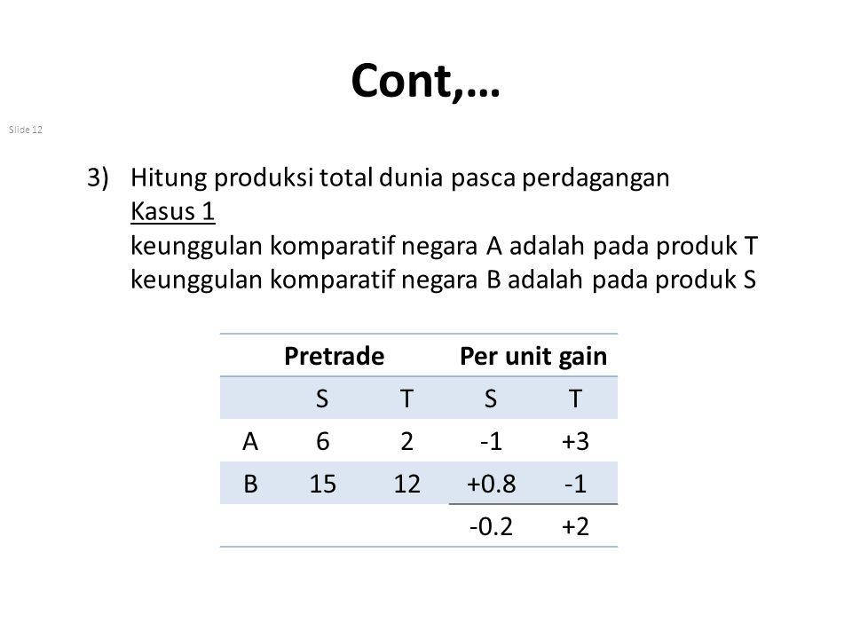 Cont,… Slide 12 3)Hitung produksi total dunia pasca perdagangan Kasus 1 keunggulan komparatif negara A adalah pada produk T keunggulan komparatif nega