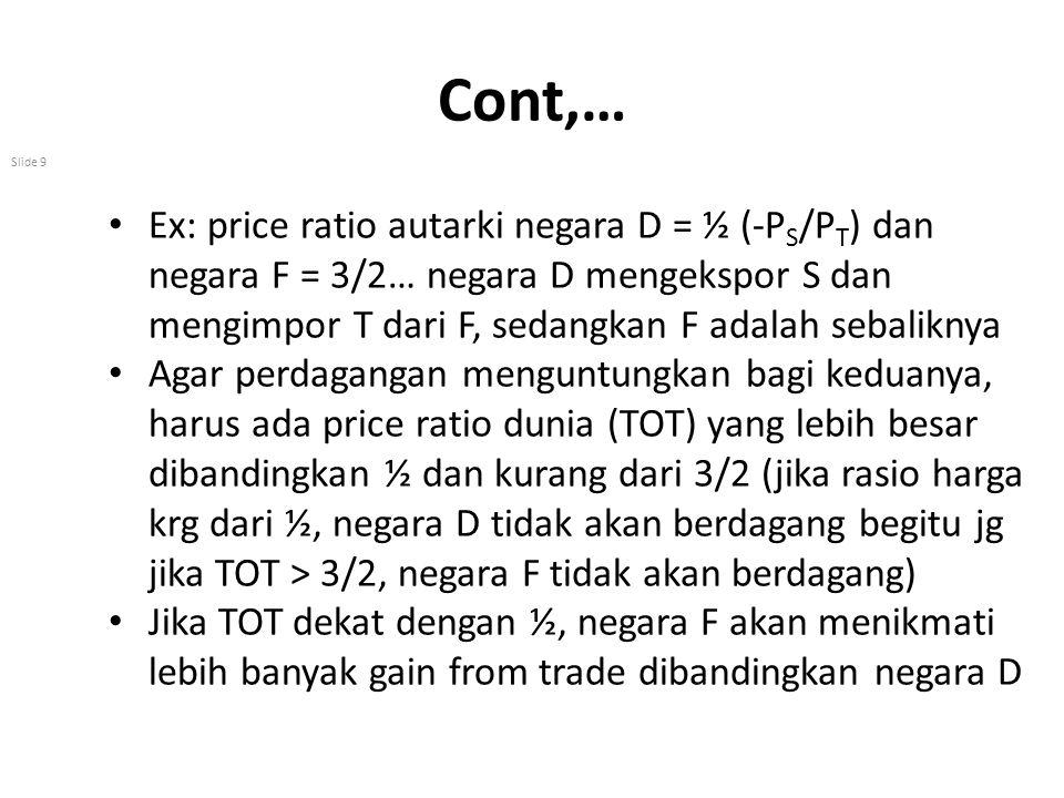Cont,… Slide 9 Ex: price ratio autarki negara D = ½ (-P S /P T ) dan negara F = 3/2… negara D mengekspor S dan mengimpor T dari F, sedangkan F adalah