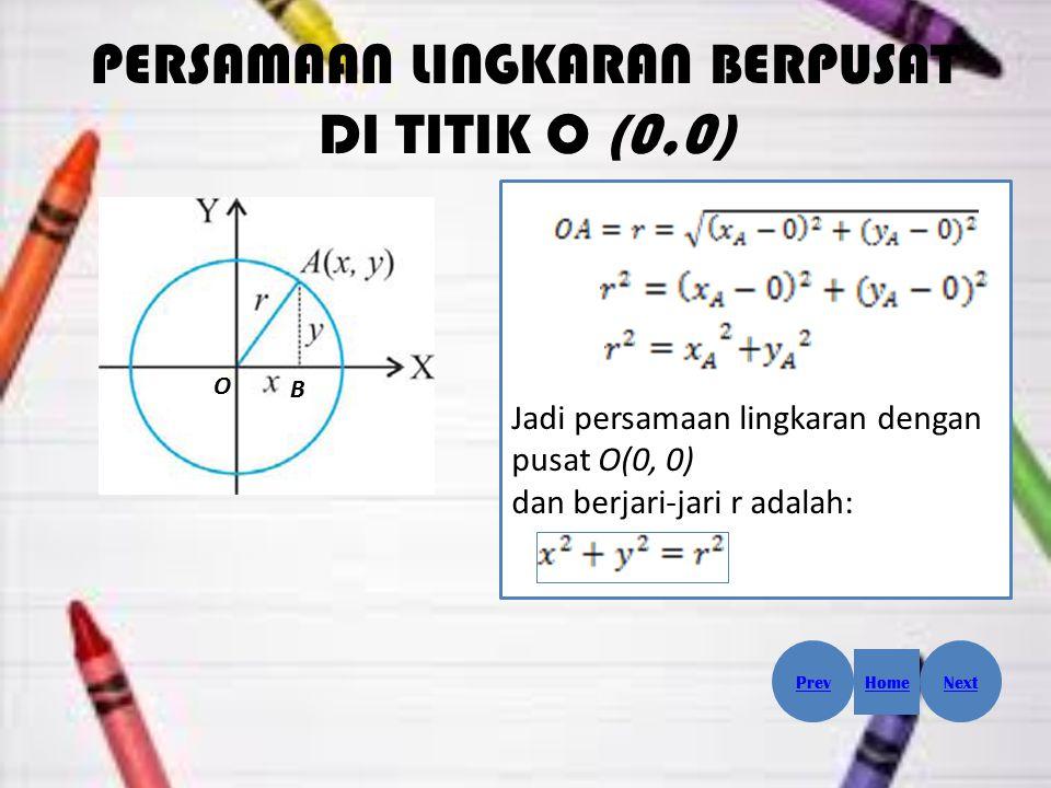 PERSAMAAN LINGKARAN BERPUSAT DI TITIK O (0,0) O B Jadi persamaan lingkaran dengan pusat O(0, 0) dan berjari-jari r adalah: Prev Home Next