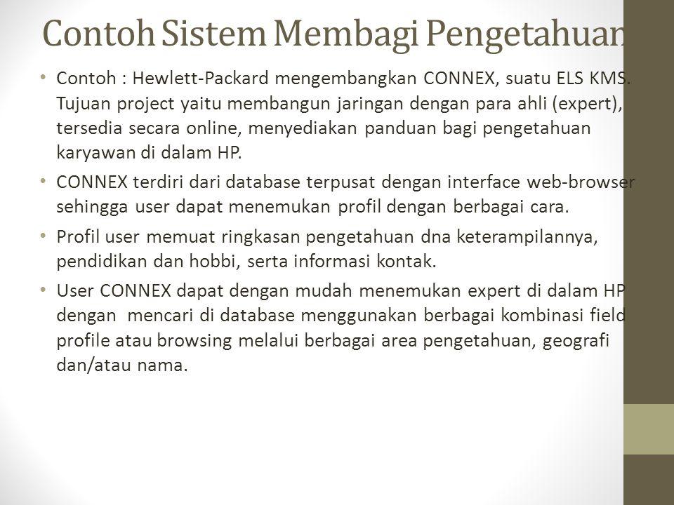 Contoh Sistem Membagi Pengetahuan Contoh : Hewlett-Packard mengembangkan CONNEX, suatu ELS KMS.