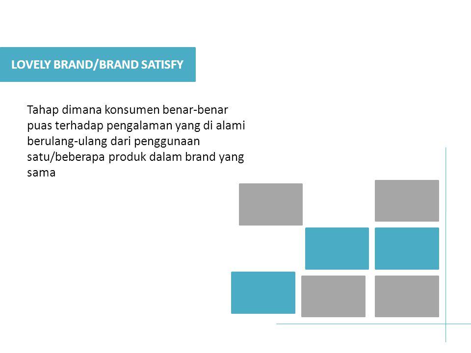 LOVELY BRAND/BRAND SATISFY Tahap dimana konsumen benar-benar puas terhadap pengalaman yang di alami berulang-ulang dari penggunaan satu/beberapa produk dalam brand yang sama