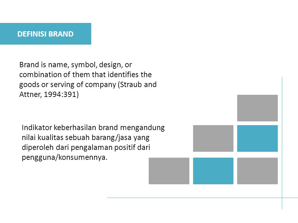 Brand is name, symbol, design, or combination of them that identifies the goods or serving of company (Straub and Attner, 1994:391) Indikator keberhas