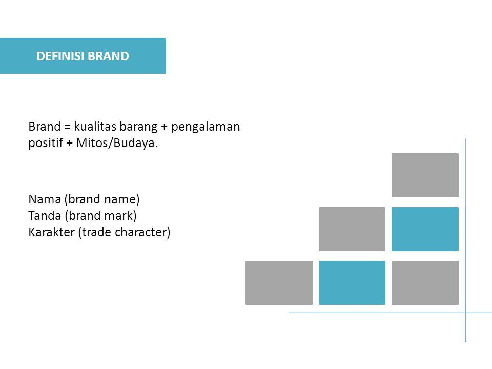 Brand = kualitas barang + pengalaman positif + Mitos/Budaya.