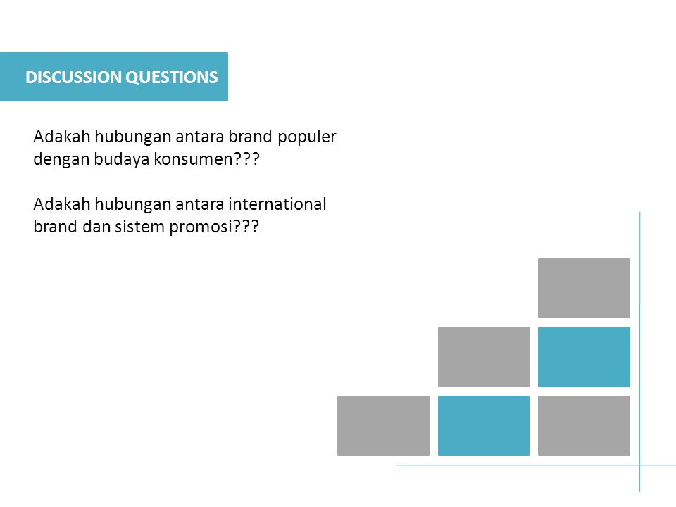 DISCUSSION QUESTIONS Adakah hubungan antara brand populer dengan budaya konsumen??.