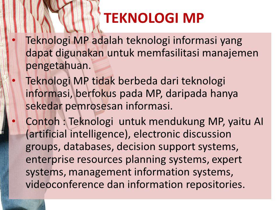 TEKNOLOGI MP Teknologi MP adalah teknologi informasi yang dapat digunakan untuk memfasilitasi manajemen pengetahuan. Teknologi MP tidak berbeda dari t