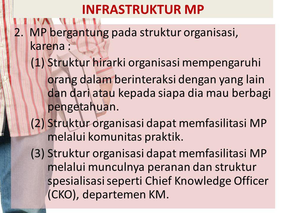 INFRASTRUKTUR MP 2. MP bergantung pada struktur organisasi, karena : (1) Struktur hirarki organisasi mempengaruhi orang dalam berinteraksi dengan yang