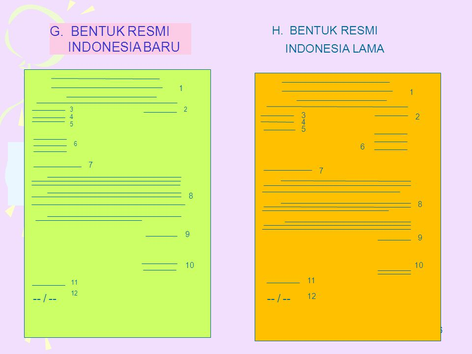 10 36 1 3 4 5 6 8 7 9 11 10 12 --/ 2 G. BENTUK RESMI INDONESIA BARU 1 3 2 4 5 6 8 7 9 11 10 12 --/ H.BENTUK RESMI INDONESIA LAMA