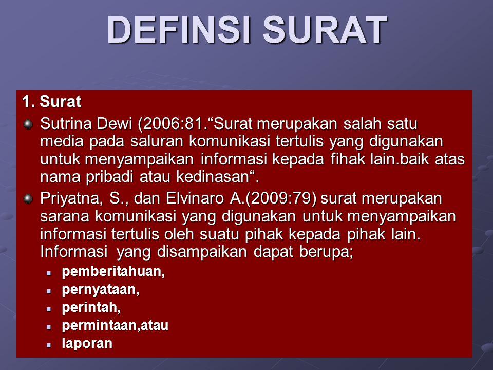 "DEFINSI SURAT 1. Surat Sutrina Dewi (2006:81.""Surat merupakan salah satu media pada saluran komunikasi tertulis yang digunakan untuk menyampaikan info"
