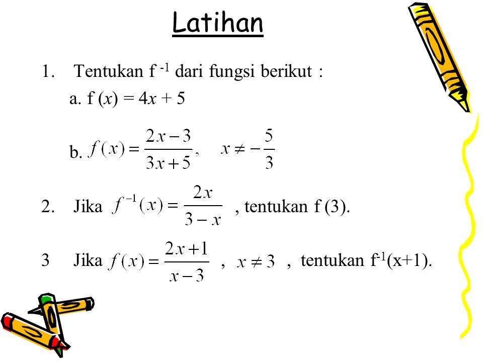Latihan 1.Tentukan f -1 dari fungsi berikut : a. f (x) = 4x + 5 b. 2.Jika, tentukan f (3). 3Jika,, tentukan f -1 (x+1).