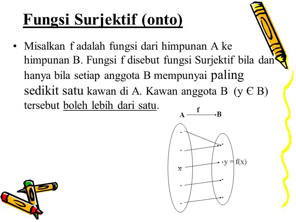 Fungsi Surjektif (onto) Misalkan f adalah fungsi dari himpunan A ke himpunan B. Fungsi f disebut fungsi Surjektif bila dan hanya bila setiap anggota B