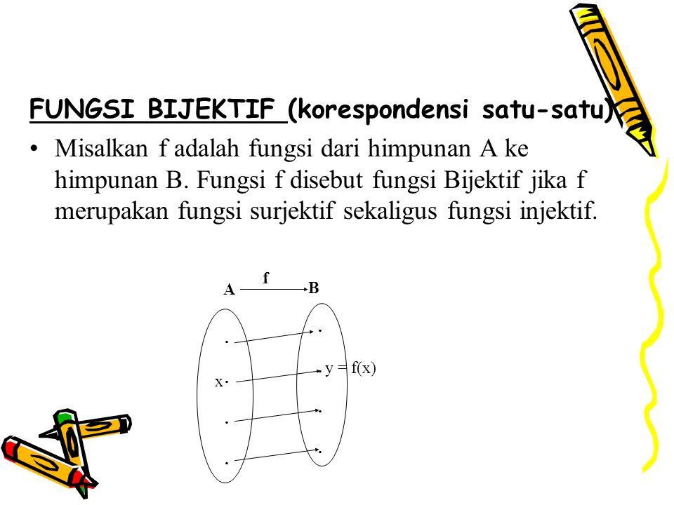 FUNGSI BIJEKTIF (korespondensi satu-satu) Misalkan f adalah fungsi dari himpunan A ke himpunan B. Fungsi f disebut fungsi Bijektif jika f merupakan fu