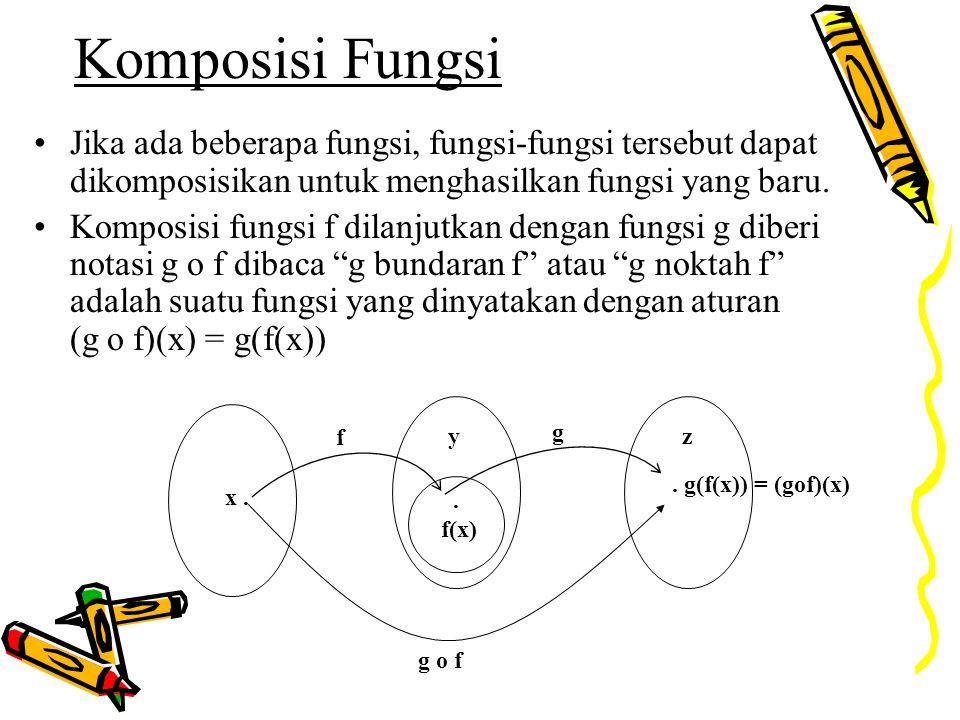 Komposisi Fungsi Jika ada beberapa fungsi, fungsi-fungsi tersebut dapat dikomposisikan untuk menghasilkan fungsi yang baru. Komposisi fungsi f dilanju