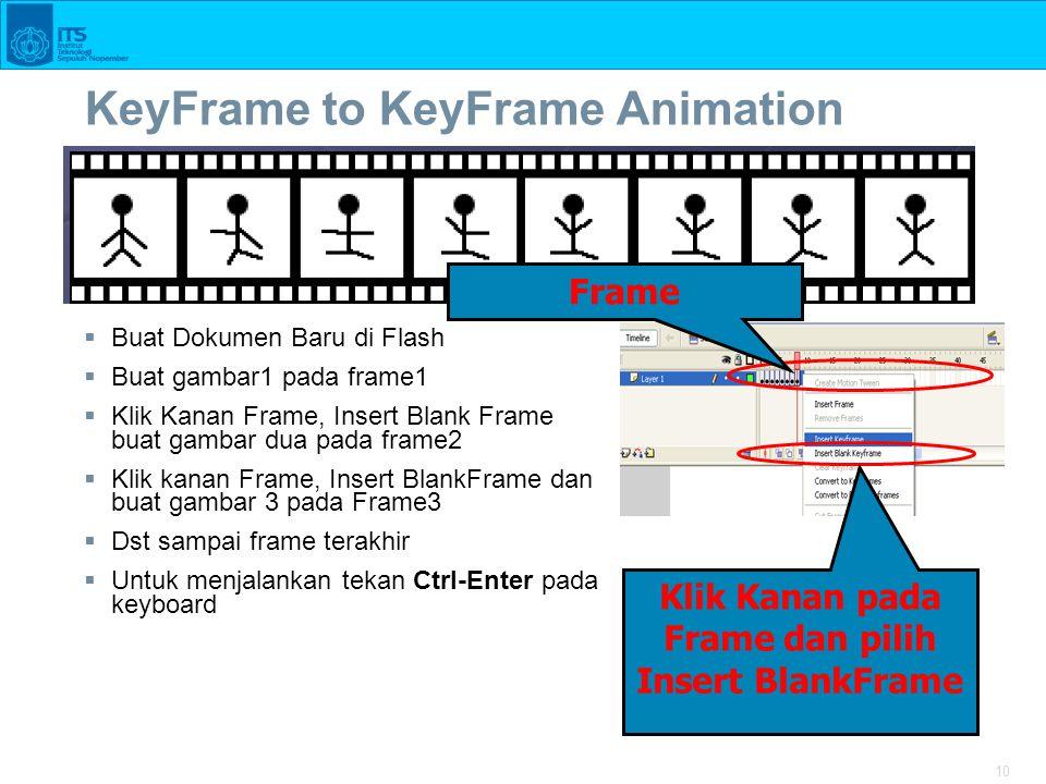 10 KeyFrame to KeyFrame Animation  Buat Dokumen Baru di Flash  Buat gambar1 pada frame1  Klik Kanan Frame, Insert Blank Frame buat gambar dua pada frame2  Klik kanan Frame, Insert BlankFrame dan buat gambar 3 pada Frame3  Dst sampai frame terakhir  Untuk menjalankan tekan Ctrl-Enter pada keyboard Klik Kanan pada Frame dan pilih Insert BlankFrame Frame