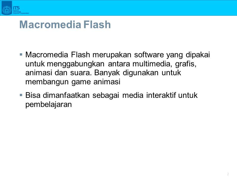 2  Macromedia Flash merupakan software yang dipakai untuk menggabungkan antara multimedia, grafis, animasi dan suara.