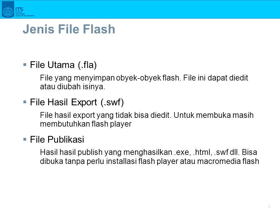 8 Jenis File Flash  File Utama (.fla) File yang menyimpan obyek-obyek flash. File ini dapat diedit atau diubah isinya.  File Hasil Export (.swf) Fil