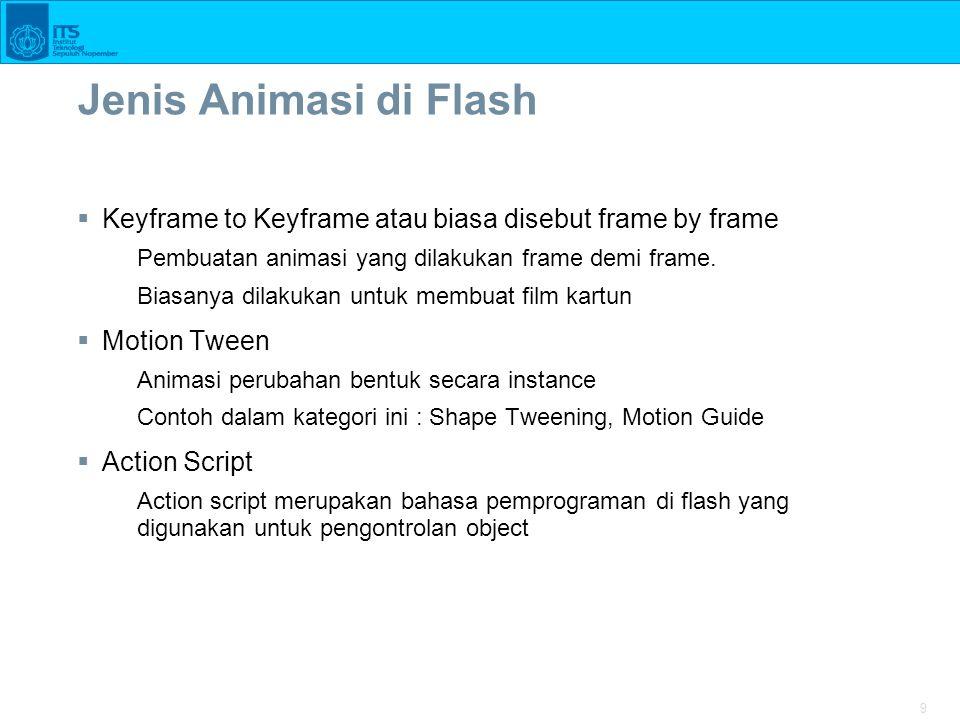 9 Jenis Animasi di Flash  Keyframe to Keyframe atau biasa disebut frame by frame Pembuatan animasi yang dilakukan frame demi frame. Biasanya dilakuka