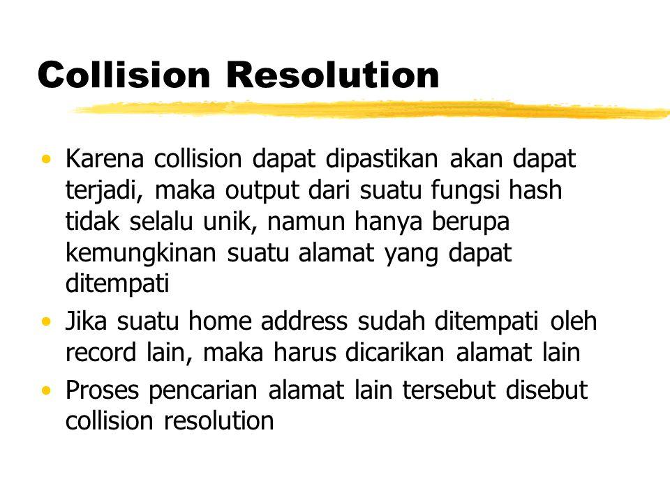Collision Resolution Karena collision dapat dipastikan akan dapat terjadi, maka output dari suatu fungsi hash tidak selalu unik, namun hanya berupa ke