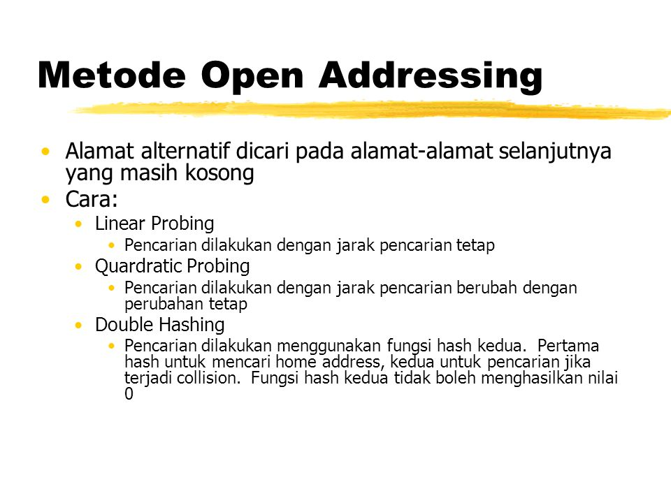 Metode Open Addressing Alamat alternatif dicari pada alamat-alamat selanjutnya yang masih kosong Cara: Linear Probing Pencarian dilakukan dengan jarak