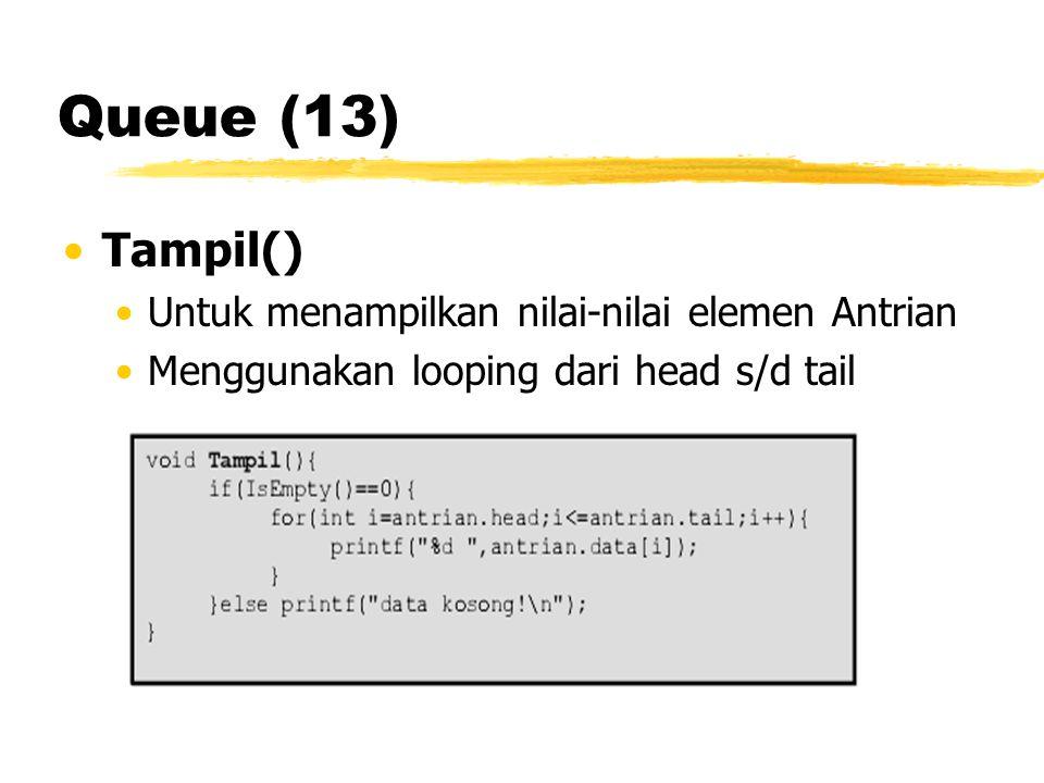 Queue (13) Tampil() Untuk menampilkan nilai-nilai elemen Antrian Menggunakan looping dari head s/d tail