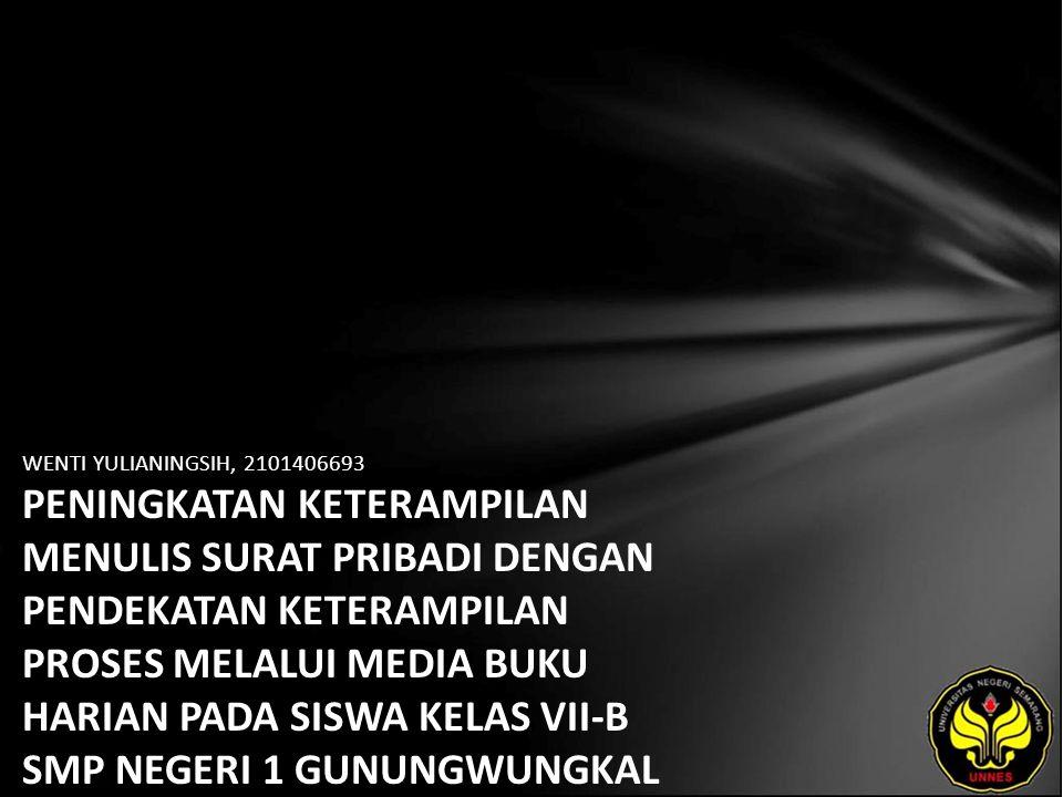 Identitas Mahasiswa - NAMA : WENTI YULIANINGSIH - NIM : 2101406693 - PRODI : Pendidikan Bahasa, Sastra Indonesia, dan Daerah (Pendidikan Bahasa dan Sastra Indonesia) - JURUSAN : Bahasa & Sastra Indonesia - FAKULTAS : Bahasa dan Seni - EMAIL : wentiyulia pada domain ymail.com - PEMBIMBING 1 : Drs.