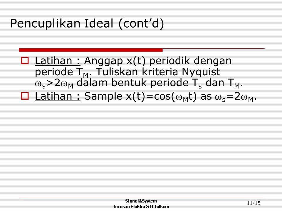 Signal&System Jurusan Elektro STT Telkom 11/15 Pencuplikan Ideal (cont'd)  Latihan : Anggap x(t) periodik dengan periode T M.
