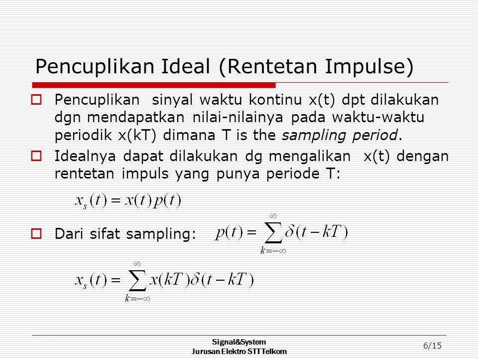 Signal&System Jurusan Elektro STT Telkom 6/15 Pencuplikan Ideal (Rentetan Impulse)  Pencuplikan sinyal waktu kontinu x(t) dpt dilakukan dgn mendapatkan nilai-nilainya pada waktu-waktu periodik x(kT) dimana T is the sampling period.