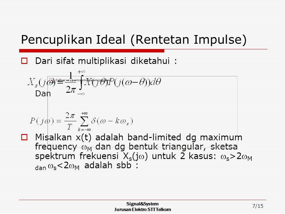 Signal&System Jurusan Elektro STT Telkom 7/15 Pencuplikan Ideal (Rentetan Impulse)  Dari sifat multiplikasi diketahui : Dan  Misalkan x(t) adalah band-limited dg maximum frequency  M dan dg bentuk triangular, sketsa spektrum frekuensi X s (j) untuk 2 kasus:  s >2 M dan  s <2 M adalah sbb :