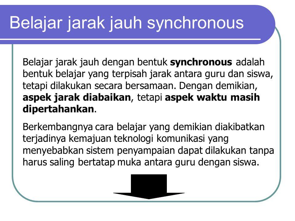 Belajar jarak jauh dengan bentuk synchronous adalah bentuk belajar yang terpisah jarak antara guru dan siswa, tetapi dilakukan secara bersamaan.