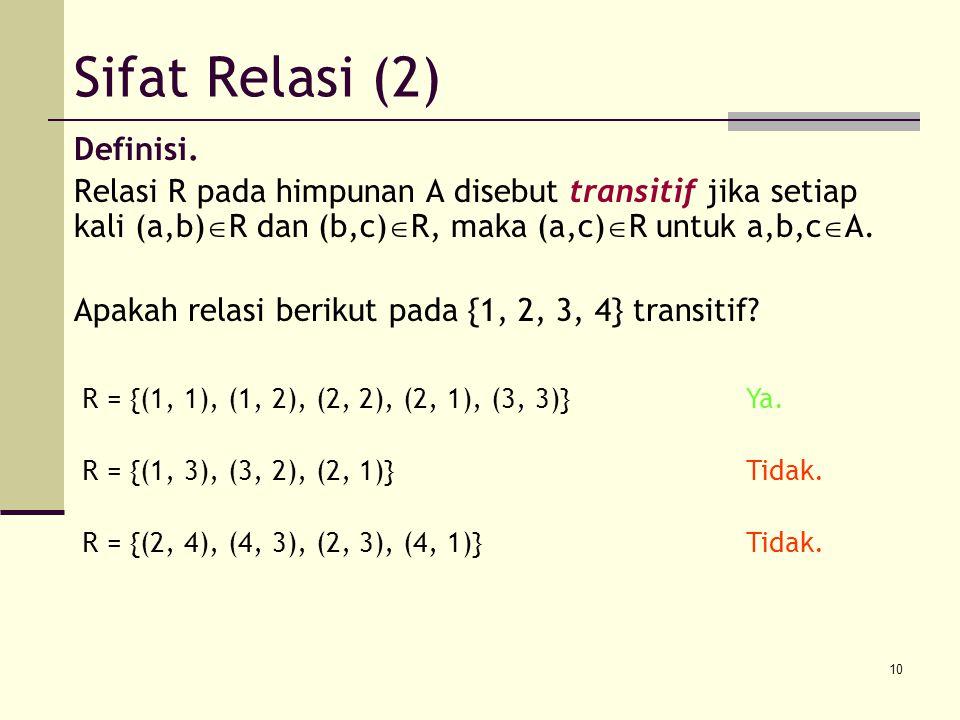 10 Definisi. Relasi R pada himpunan A disebut transitif jika setiap kali (a,b)  R dan (b,c)  R, maka (a,c)  R untuk a,b,c  A. Apakah relasi beriku