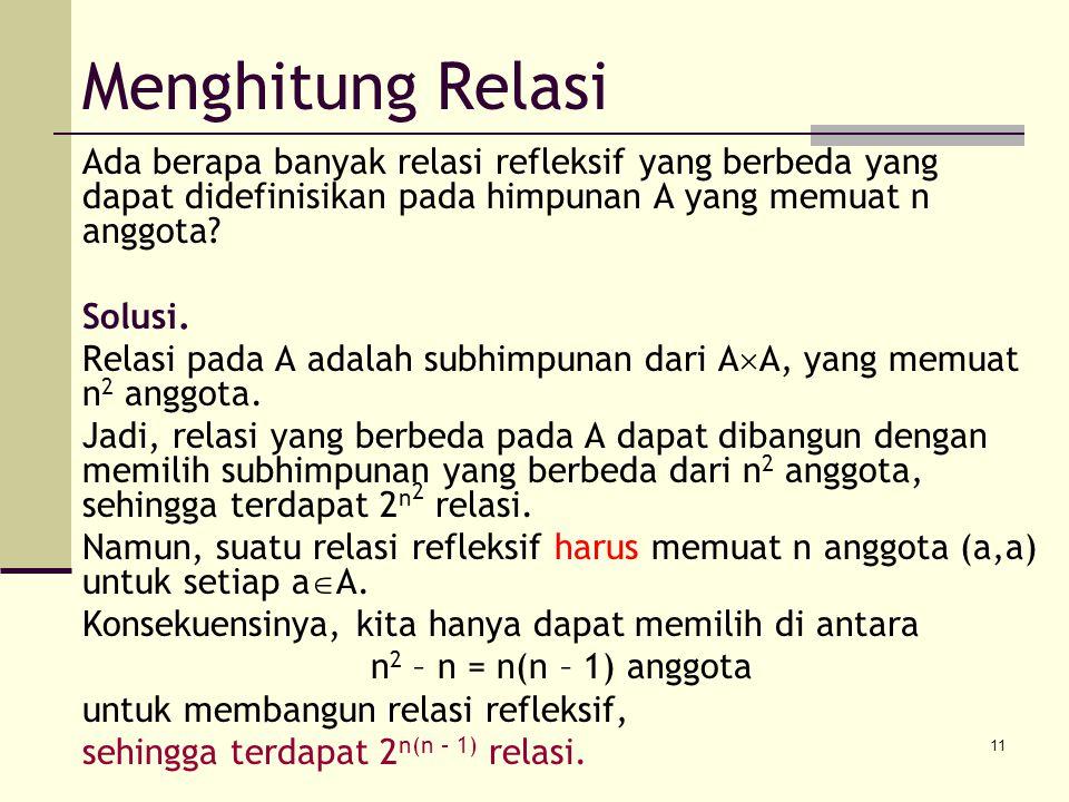 11 Menghitung Relasi Ada berapa banyak relasi refleksif yang berbeda yang dapat didefinisikan pada himpunan A yang memuat n anggota? Solusi. Relasi pa
