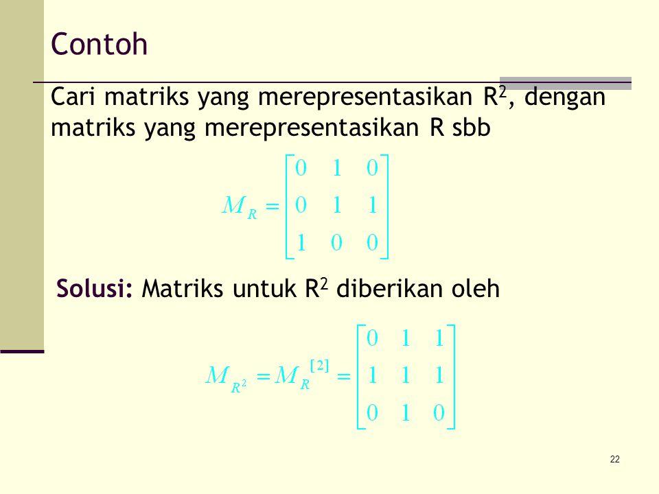 22 Contoh Cari matriks yang merepresentasikan R 2, dengan matriks yang merepresentasikan R sbb Solusi: Matriks untuk R 2 diberikan oleh