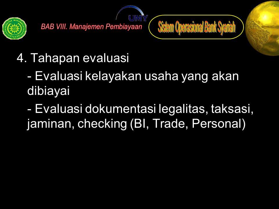 4. Tahapan evaluasi - Evaluasi kelayakan usaha yang akan dibiayai - Evaluasi dokumentasi legalitas, taksasi, jaminan, checking (BI, Trade, Personal)