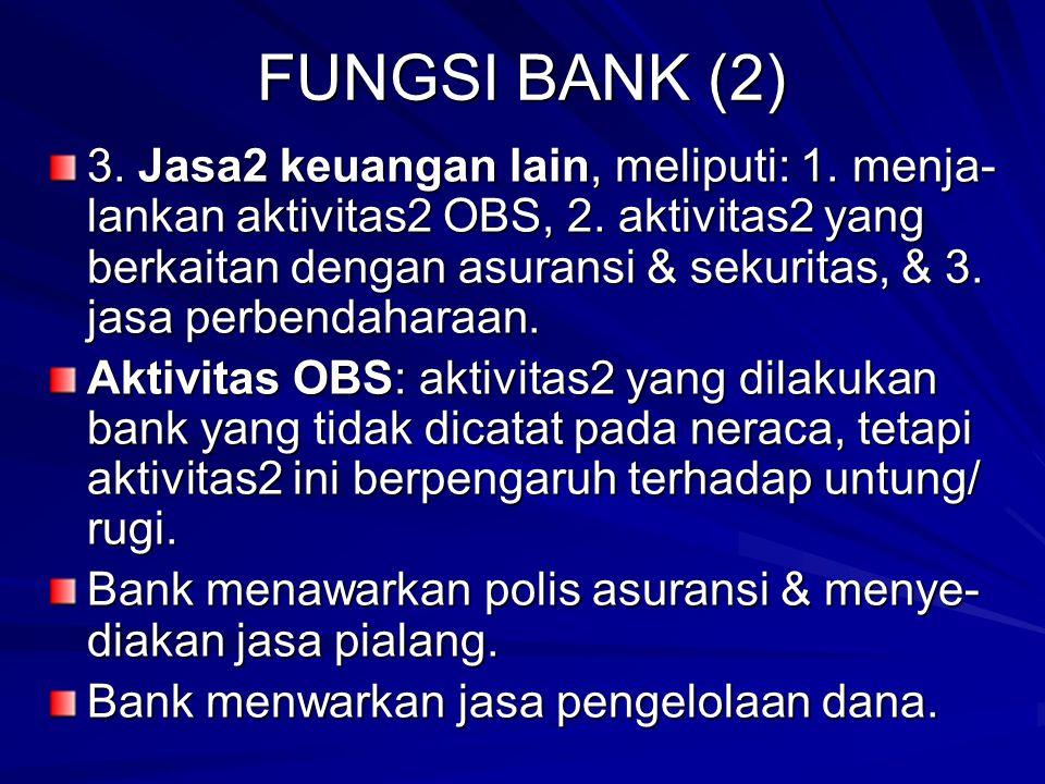 FUNGSI BANK (2) 3.Jasa2 keuangan lain, meliputi: 1.