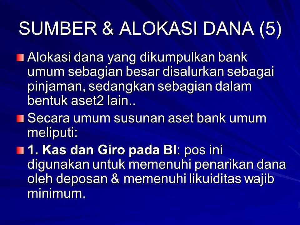SUMBER & ALOKASI DANA (5) Alokasi dana yang dikumpulkan bank umum sebagian besar disalurkan sebagai pinjaman, sedangkan sebagian dalam bentuk aset2 lain..