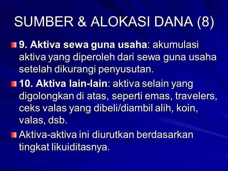 SUMBER & ALOKASI DANA (8) 9.