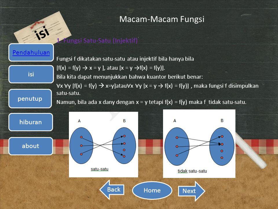 Macam-Macam Fungsi 1. Fungsi Satu-Satu (Injektif) Fungsi f dikatakan satu-satu atau injektif bila hanya bila [f(x) = f(y) → x = y ], atau [x = y →f(x)