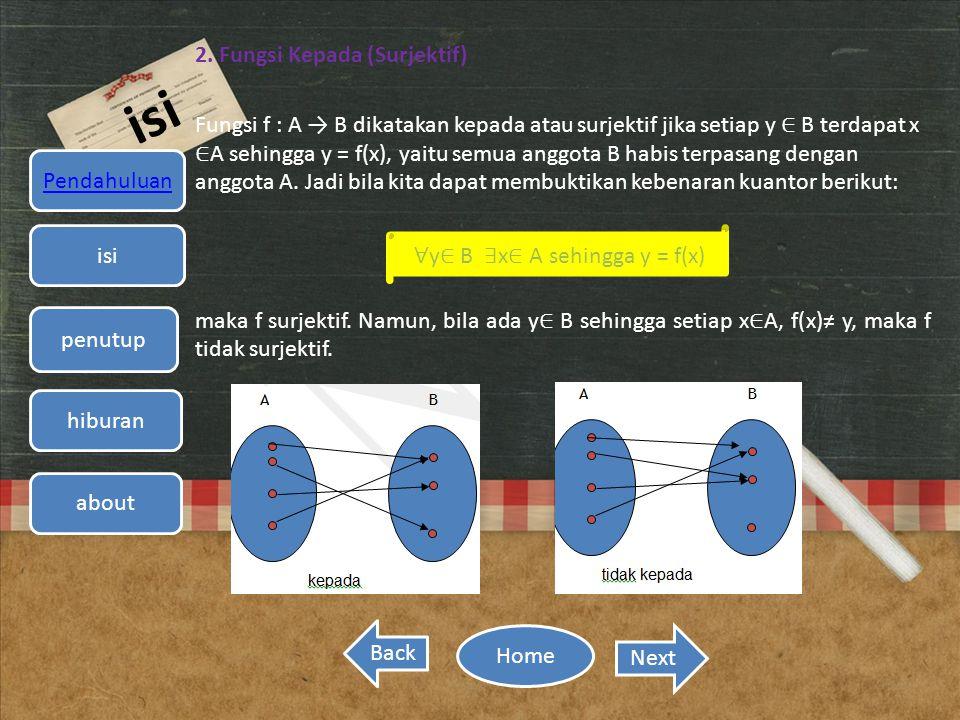 isi 2. Fungsi Kepada (Surjektif) Fungsi f : A → B dikatakan kepada atau surjektif jika setiap y ∈ B terdapat x ∈ A sehingga y = f(x), yaitu semua angg