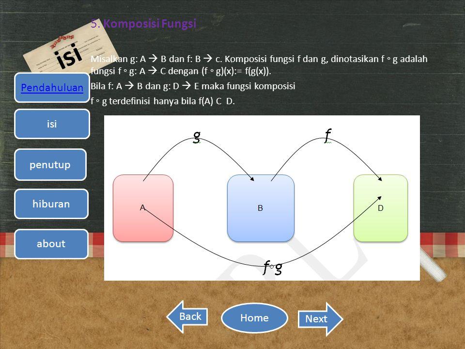 isi 5. Komposisi Fungsi Misalkan g: A  B dan f: B  c. Komposisi fungsi f dan g, dinotasikan f ◦ g adalah fungsi f ◦ g: A  C dengan (f ◦ g)(x):= f(g