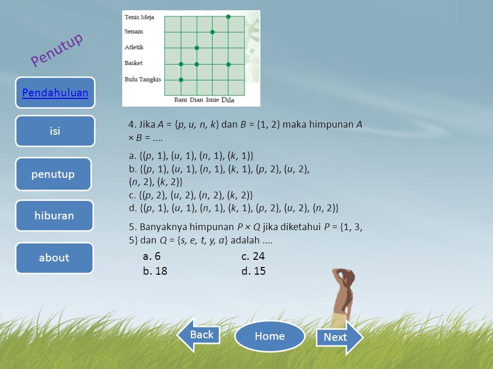 Back Next 4. Jika A = {p, u, n, k} dan B = {1, 2} maka himpunan A × B =.... a. {(p, 1), (u, 1), (n, 1), (k, 1)} b. {(p, 1), (u, 1), (n, 1), (k, 1), (p