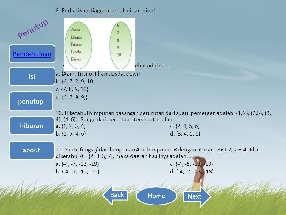 9. Perhatikan diagram panah di samping! Kodomain dari pemetaan tersebut adalah.... a. {Aam, Trisno, Ilham, Lisda, Dewi} b. {6, 7, 8, 9, 10} c. {7, 8,