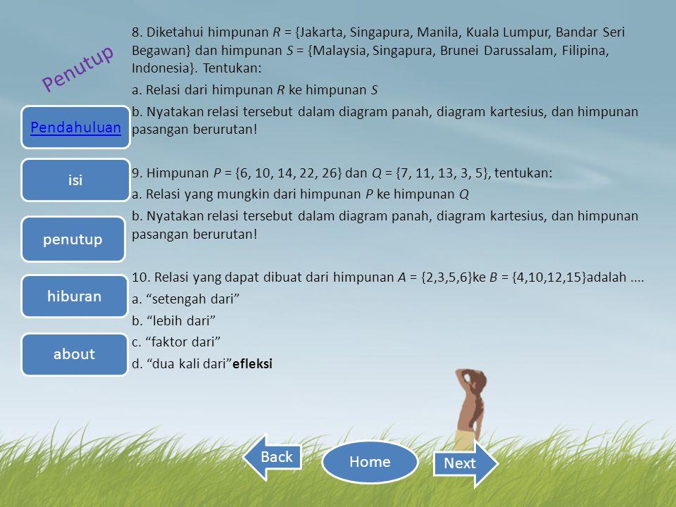 8. Diketahui himpunan R = {Jakarta, Singapura, Manila, Kuala Lumpur, Bandar Seri Begawan} dan himpunan S = {Malaysia, Singapura, Brunei Darussalam, Fi