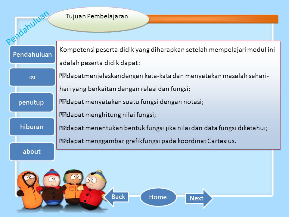 Isi (Materi) Relasi dan Fungsi 1.Relasi Relasi dari himpunan A ke himpunan B adalah hubungan yang memasangkan anggota A dengan anggota B.