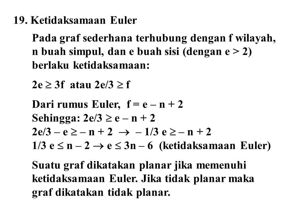 19. Ketidaksamaan Euler Pada graf sederhana terhubung dengan f wilayah, n buah simpul, dan e buah sisi (dengan e > 2) berlaku ketidaksamaan: 2e  3f a