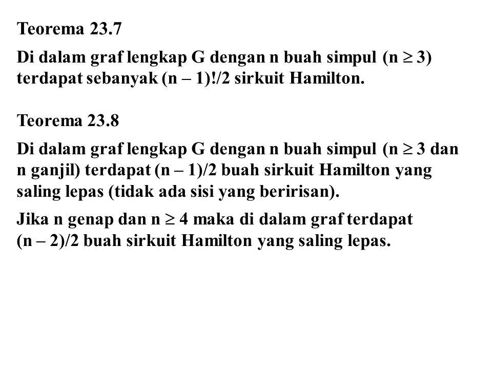 Teorema 23.7 Di dalam graf lengkap G dengan n buah simpul (n  3) terdapat sebanyak (n – 1)!/2 sirkuit Hamilton. Teorema 23.8 Di dalam graf lengkap G
