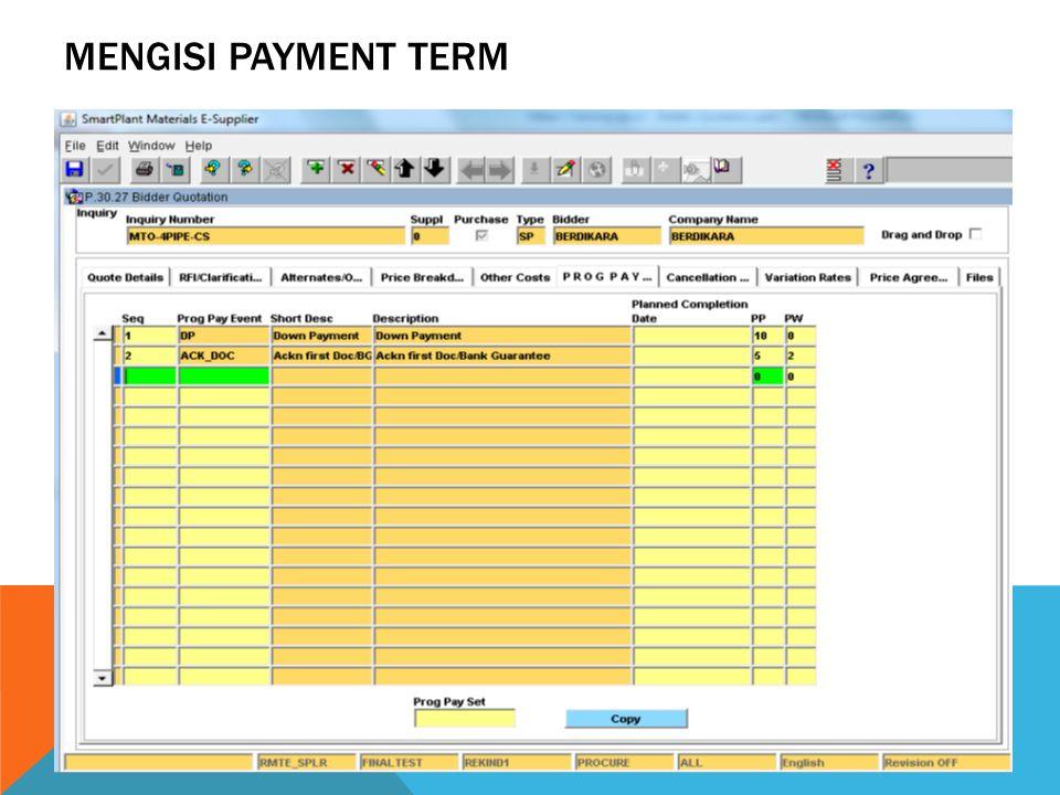 MENGISI PAYMENT TERM