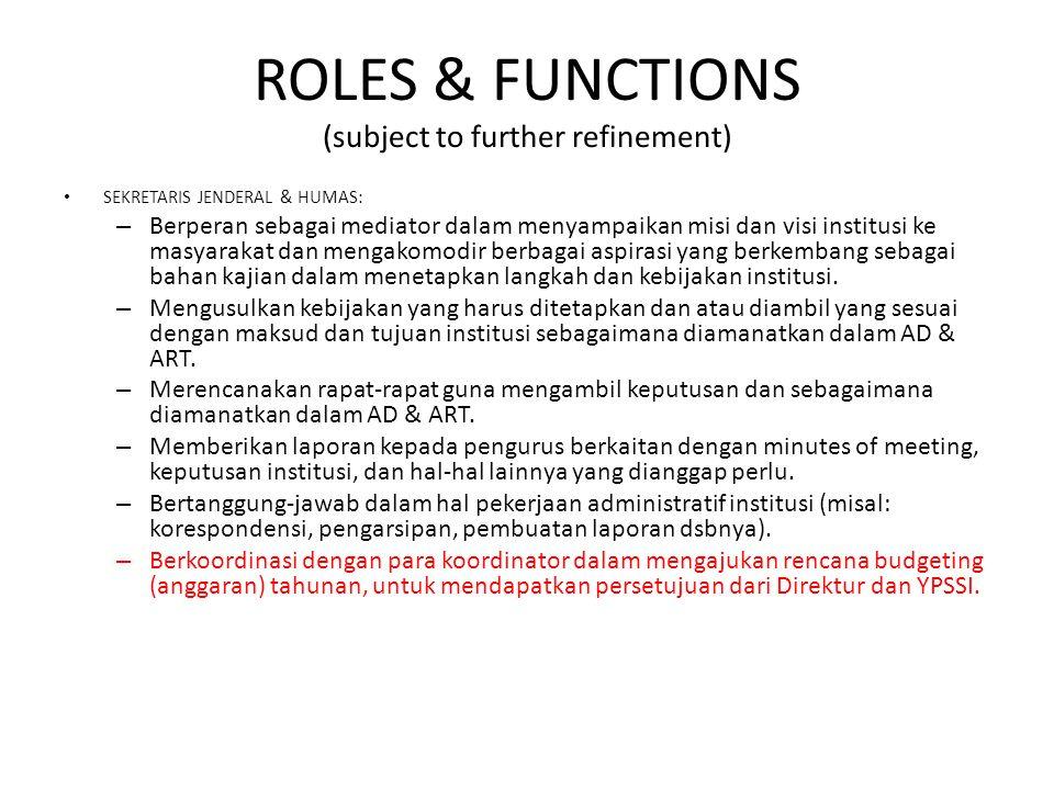 ROLES & FUNCTIONS (subject to further refinement) SEKRETARIS JENDERAL & HUMAS: – Berperan sebagai mediator dalam menyampaikan misi dan visi institusi