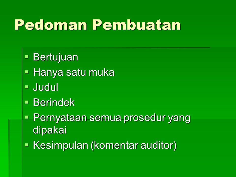 Pedoman Pembuatan  Bertujuan  Hanya satu muka  Judul  Berindek  Pernyataan semua prosedur yang dipakai  Kesimpulan (komentar auditor)
